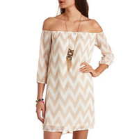 OFF-THE-SHOULDER CHIFFON CHEVRON SHIFT DRESS