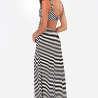Latitude Adjustment Ivory and Black Striped Maxi Dress