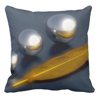 Golden Feather Throw Pillow