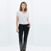VELOUR TROUSERS WITH SEQUINS