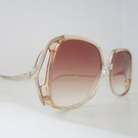 70s Two Tone Oversized Square Sunglasses // Vintage Butterfly Sunglasses