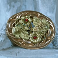 Vintage Brooch Czech Art Nouveau Gold and Red Floral Repousse Sculptural Oval Brooch