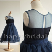 Navy Blue Lace Flower Girl Dresses Beautiful Bow Flower Party Dresses 2014 New Fashion Wedding Dresses