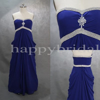 Long Strapless Beaded Prom Dresses Royal Blue Bridesmaid Dresses Homecoming Dresses 2014 New Custom Made