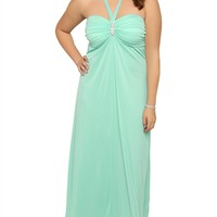 Plus Size Long Prom Dress with Stone Halter Neckline and Flyaway Front