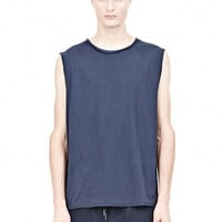 Ink Pigment Dyed Cotton Jersey Silk Neck Trim Muscle Tee - Alexander Wang
