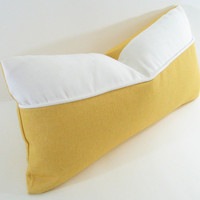 "YELLOW LUMBAR PILLOW Cover - 12"" X 22"" In Organic Cotton Denim"
