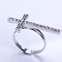 "Silver sideways cross ring, Silver ring, silver cross jewelry, thin rhinestone ring, cross ring, large cross, statement ring, ""Simoeis"""