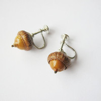 Vintage Real Acorn Screw Back Silver Earrings - Nature Lover - Cottage Chic