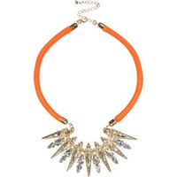 Orange cord statement necklace