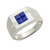 Men's Princess-Cut Blue Sapphire and Diamond Accent Ring in 10K White Gold - View All Rings - Zales