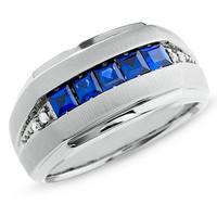Men's Lab-Created Sapphire Five Stone Ring in 10K White Gold with Diamond Accents - View All Rings - Zales
