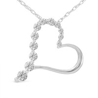 1/4 CT. T.W. Journey Diamond Heart Pendant in 10K White Gold - View All Necklaces - Zales