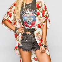 Full Tilt Floral Print Womens Kimono Ivory  In Sizes