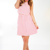 Stripe A Pose Dress: White/Red