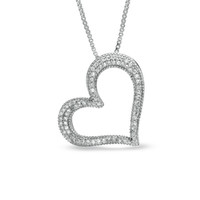 1/7 CT. T.W. Diamond Tilted Heart Pendant in Sterling Silver - View All Necklaces - Zales