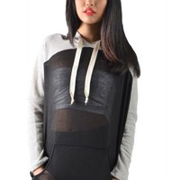 Sheer Black Color Block Hoodie