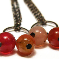 Long Chain Earrings, Red Currant Berries, Natural Pink Jade, Black Gunmetal Rings, silver or gunmetal ear wire