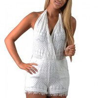 White Backless Lacy Halter Romper