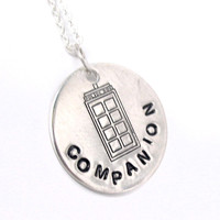 Companion - Sterling Silver Doctor Who Inspired, Hand Stamped Necklace | foxwise