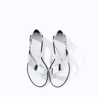 METALLIC FLAT LEATHER SANDAL