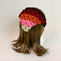 Hair Bandana Crochet Ombre Head Scarf Rockabilly Cover Tie Triangle Headband Band Head Scarf Crocodile Stitch