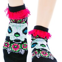Muerta Cat Ruffle Ankle Socks