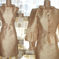Vintage 60s Peach Shantung Silk 2 pc Cocktail Dress Set Jackie O Style Peplum Suit 12 M/L/XL
