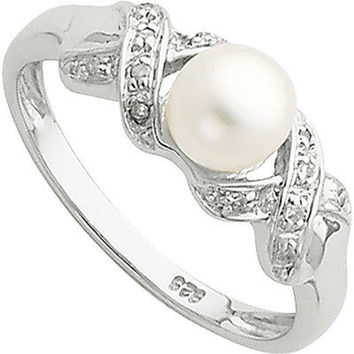 6mm Cultured Button Pearl and Diamond Ring in Sterling Silver and Rhodium|Meijer.com