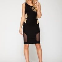 Q8030 Quontum Gold/Black Vest Midi Strap Dress