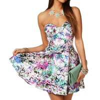 Multi Color Floral Strapless Dress