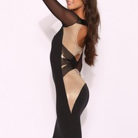 Q8058 Quontum Gold/Cross Back Midi Dress with Sleeve