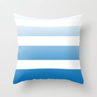 Sky Blue Faded Stripe Throw Pillow by Color and Form