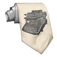 Vintage Typewriter Cream Tie