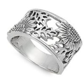 Sunflower Filigree Ring 14MM Sterling Silver Size 7
