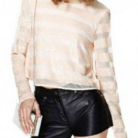 White Long Sleeve Striped Top with Zipper Back