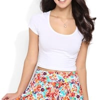 Multicolor Floral Skater Skirt with Fold Over Waistband