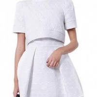 White Short Sleeve and Round Neck Dress