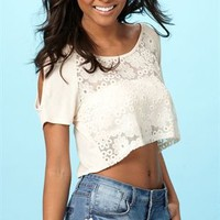 Short Sleeve Crochet Lace Crop Top with Cold Shoulder Cutouts
