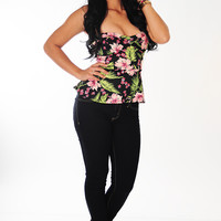 Hawaiian Island Peplum Top: Black