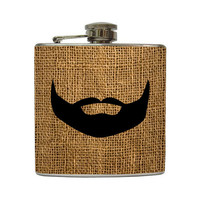 Guys Black Beard Whiskey Flask On Burlap Pattern by LiquidCourage