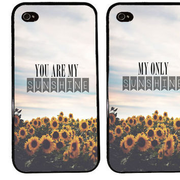 you are my SUNSHINE bff Case / Best Friends iPhone 4 Case Summer iPhone 5 Case iPhone 4S Case iPhone 5S Lyrics One For Your BFF Sunflowers