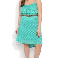 plus-tribal crochet spaghetti strap popover braided belt high low