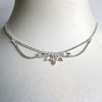 Richelieu 1980s Rhinestone Vintage Silver Set Necklace Evening Choker