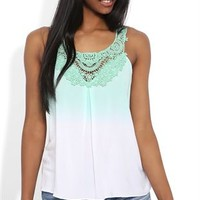 Ombre Tank Top with Crochet Neck Trim
