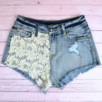 Wylder Sky Crochet Lace High Waist Shorts