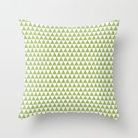 triangles -green and white Throw Pillow by her art