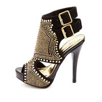 SUPER-STUDDED CUT-OUT PEEP TOE PLATFORM HEELS