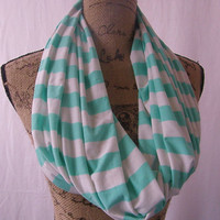 Ready To Ship New Seafoam Green and White Jersey Knit Infinity Scarf