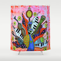 FEATHERED FANFARE Shower Curtain by Adka